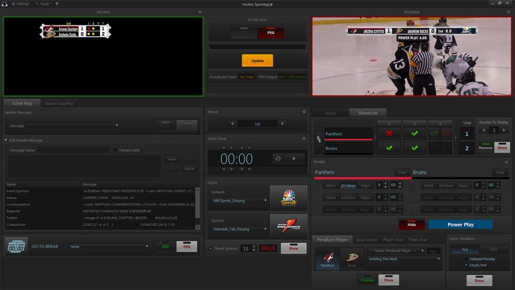 SportApp™ - SD/HD Score Bug Playout Software